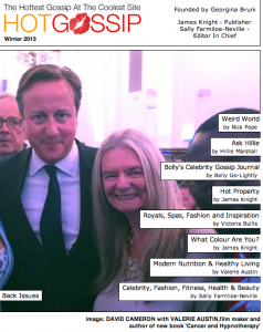 Valerie on the cover of Hot Gossip Magazine pictured with David Cameron.